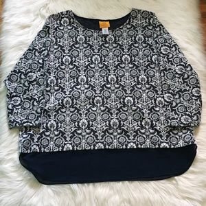 Ruby Rd Navy & White Top